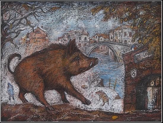 «Бег кабанчика, или автопортрет» 2006 г. 50х65 картон, пастель Цена: 14000