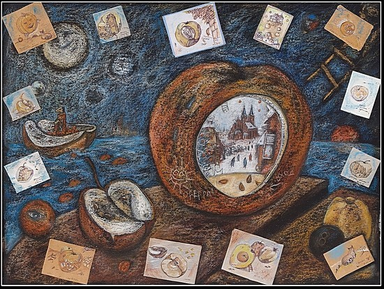 Разные Яблоки 2006 г. 70x90 картон, пастель Цена: 21000