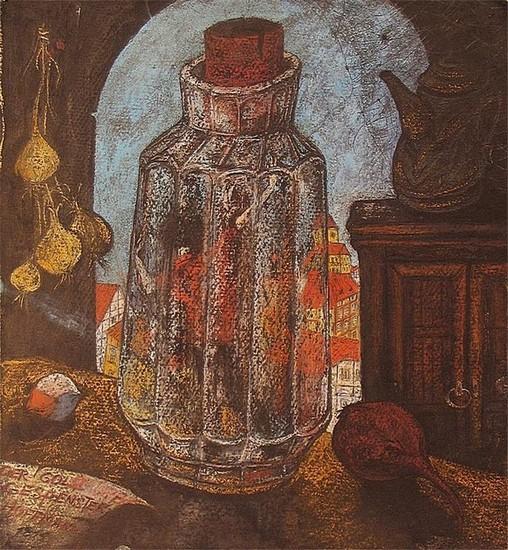 Человек в бутылке 50x50 картон, пастель Цена: 11500