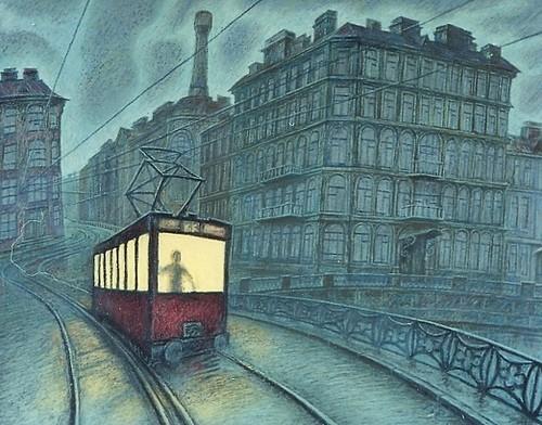 Ночной трамвай - частная коллекция, авторская копия на заказ 1997 г. картон, пастель Цена: 22000