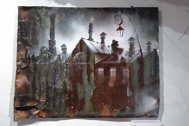 Старый завод под дождем, из серии «Второе дыхание» 2011 г. железо, акрил