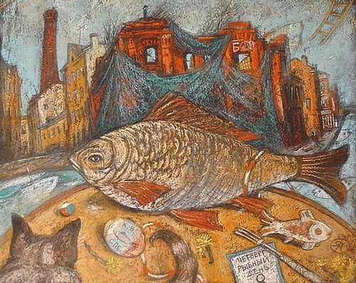 Рыбный день, Пряжка. 35х50 картон, пастель Цена: 12500
