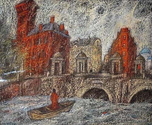 Белая ночь. Калининский мост 50х60 картон, пастель Цена: 12500