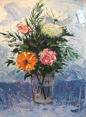 «Букет цветов мастихином и кистью».