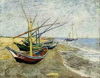 Мастер-класс «Лодки на берегу моря». Холст. Масло.