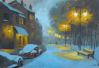 Мастер-класс «Город под снегом. Вечер. Масло.»