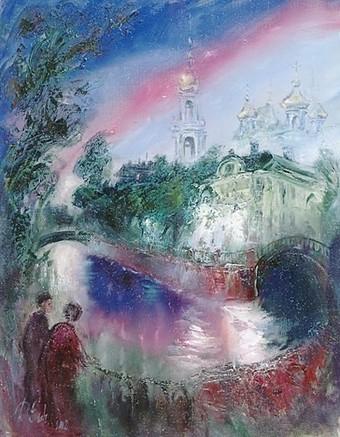 Мастер-класс «Городской пейзаж вечером с отражением». Холст. Масло.