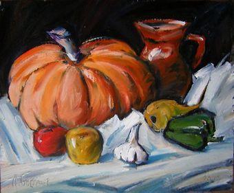 Мастер-класс «Осенний натюрморт с тыквой. Масло.»