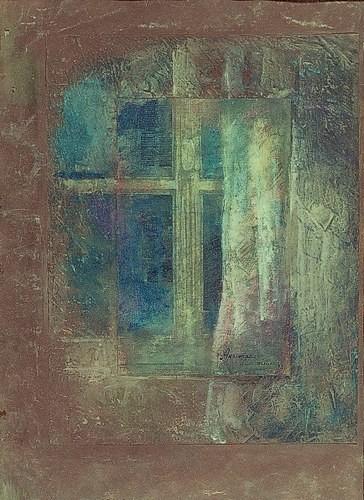 Окно в Париж 1995 г. 70х50 картон, акрил, коллаж