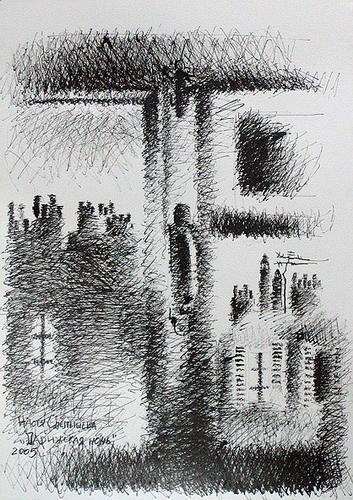 Парижская ночь 2005 г. 42*30 бумага, тушь Цена: 27500