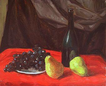 «Натюрморт с фруктами и виноградом. Кисти, масло»