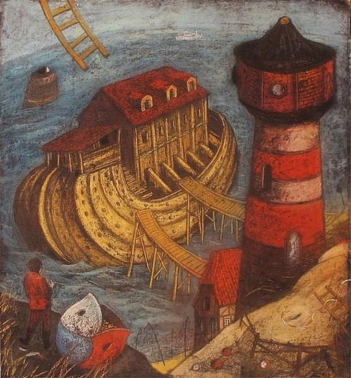 Ноев Ковчег - часть триприха Иллюминатры 2000 г. 60х50 картон, пастель Цена: 12000