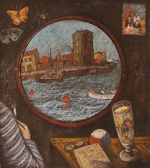Отплытие (левая часть триптиха Иллюминаторы) 2000 г. 60х50 картон, пастель Цена: 12000