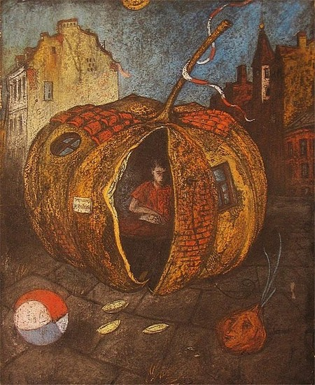 Домик-тыквы 1997 г. 50х40 картон, пастель Цена: 12000