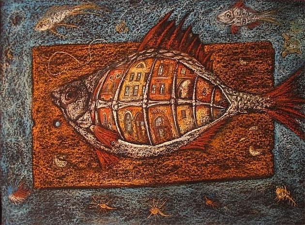 Фаршированная рыба (Никольский рынок) 2009 г. 60x80 картон, пастель Цена: 16000