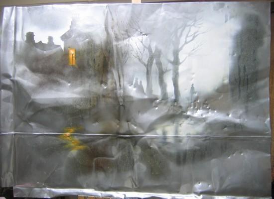 Оттепель, из серии «Второе дыхание» 2009 г. 95*140 металл, эмаль, масло.