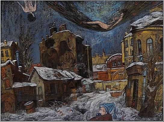 Дворик на Моховой 1997 г. 60x80 картон, пастель Цена: 14000