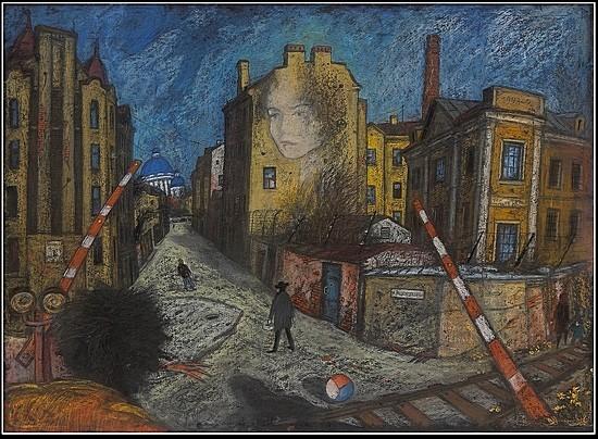 Улица Розенштейна и Ивана Черных - ПРОДАНО 1999 г. 60x80 картон, пастель Цена: 14000