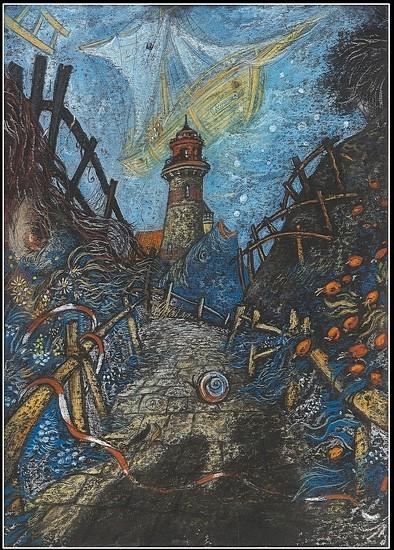 Двое у маяка 2001 г. 60x50 картон, пастель Цена: 11500