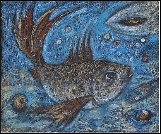Коломенская рыба 2007 г. 50x60 картон, пастель Цена: 11500