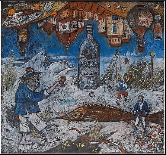 Водка и вино - ПРОДАНО 2008 г. 45x45 картон, пастель Цена: 9500