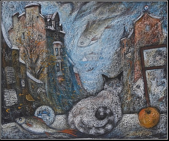 Двойной кот 2009 г. 50х60 картон, пастель Цена: 14000