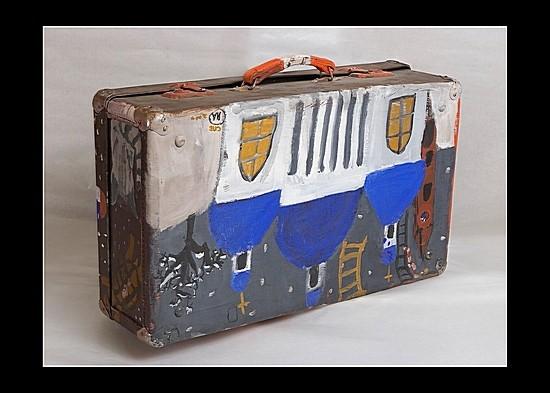 Чемоданчик - роспись со всех сторон (Иван Антонышев, США) 2007 г. кожаный чемодан, роспись Цена: 7000