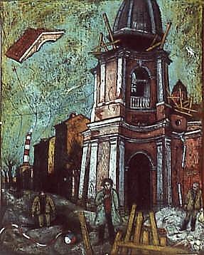 Андреевский собор 80x60 картон, пастель Цена: 14000