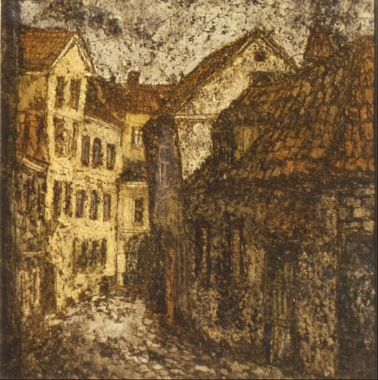 Старый Таллинн 1985 г. картон, пастель