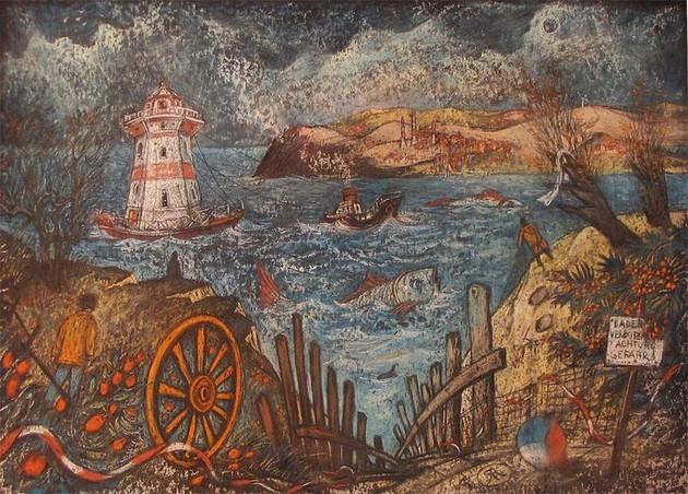 Плавучий маяк. Рюген. картон, пастель