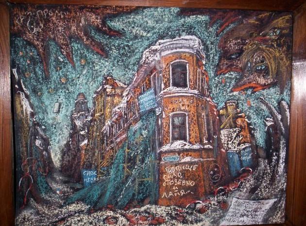 Дом Рогова 2010 г. картон, пастель