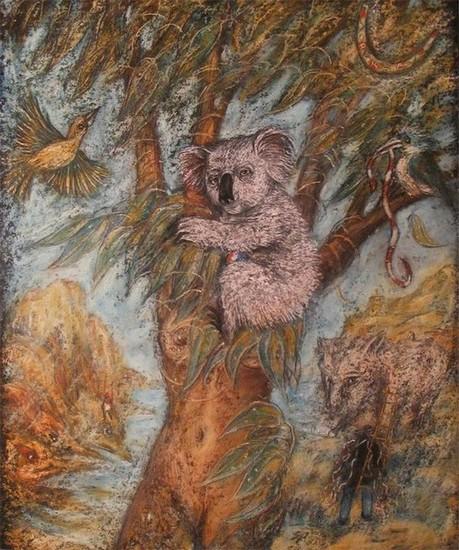 Коала непьющая 2010 г. картон, пастель - в частной коллекции