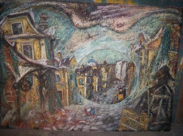 Туча над Апраксиным двором картон, пастель