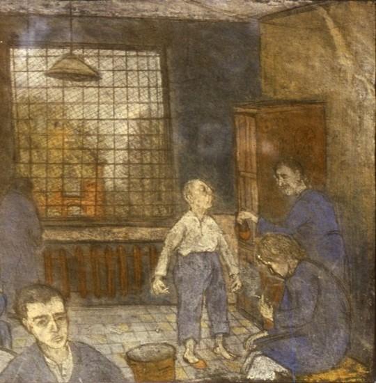 Скворечник 1985 г. картон, пастель - в частной коллекции