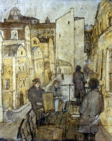 На балконе Апраксина 1985 г. картон, пастель - в частной коллекции