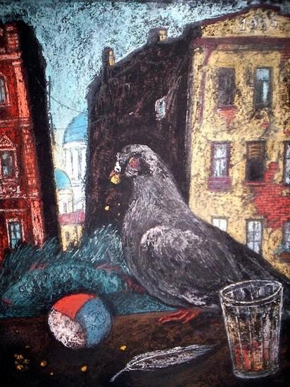 Одинокий голубь 30х20 картон, пастель